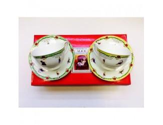 Набор чайных пар на 2 персоны 4 предмета 250мл Japonica Alice(Алиса) зелёная/желтая 20844B