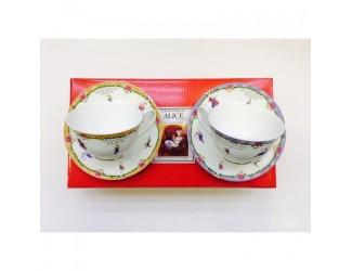 Набор чайных пар на 2 персоны 4 предмета 250мл Japonica Alice(Алиса) оранжевая/фиолетовая 20844C