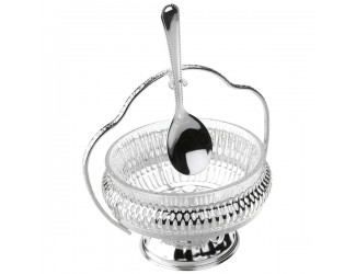 Вазочка для варенья с ручкой и ложкой Queen Anne 12х15см,стекло,сталь,посеребрение