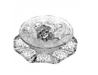 Вазочка для варенья с ложкой Queen Anne на подносе Д17см, Н5см, сталь,посеребрение