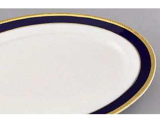 Блюдо круглое мелкое 30см Leander Сабина Кобальтовая лента декор 0767