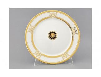 Блюдо круглое мелкое 30см Leander Сабина Золотая лента (Версаче) декор A126