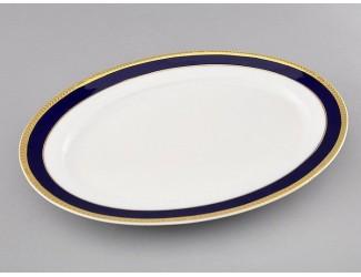 Блюдо овальное 32см Leander Сабина Кобальтовая лента декор 0767