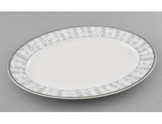 Блюдо овальное 32см Leander Сабина Серый орнамент декор 1013