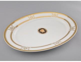 Блюдо овальное 32см Leander Сабина Золотая лента (Версаче) декор A126