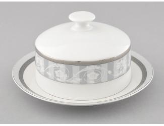 Масленка круглая 0,25кг Leander Сабина Серый орнамент декор 1013