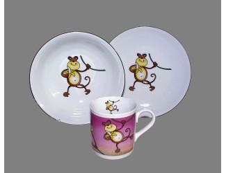 Набор детский 3 предмета Весёлая обезьянка Leander 02130112-237B
