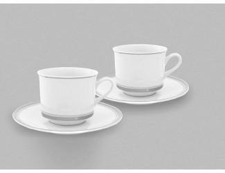 Набор из двух чайных пар 0,20л Leander Отводка платина, декор 0011