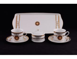 Сервиз чайный на 2 персоны 6 предметов Leander Сабина Золотая лента (Версаче) декор A126