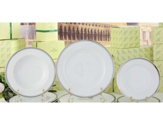 Набор тарелок на 6 персон 18 предметов Leander Сабина Отводка платина, декор 0011