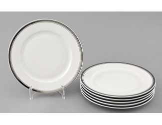 Набор тарелок мелких 6шт 25см Leander Сабина Отводка платина декор 0011