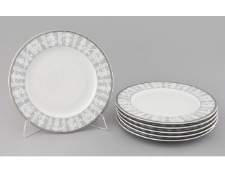 Набор тарелок мелких 6шт 25см Leander Сабина Серый орнамент декор 1013
