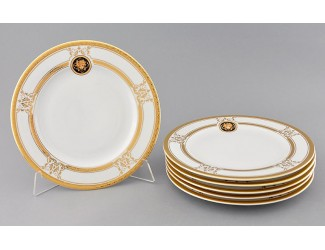 Набор тарелок мелких 6шт 25см Leander Сабина Золотая лента (Версаче) декор A126
