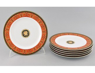 Набор тарелок мелких 6шт 25см Leander Сабина Красна лента (Версаче) декор B979