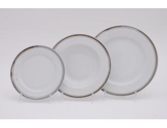 Набор тарелок 18 предметов Leander Сабина Отводка платина, декор 0011