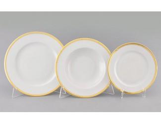 Набор тарелок 18 предметов Leander Сабина Отводка золото декор 0511