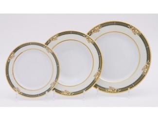 Набор тарелок 18 предметов Leander Сабина, Фрукты на зелёной ленте, декор 0711