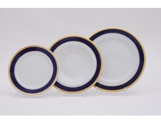 Набор тарелок 18 предметов Leander Сабина Кобальтовая лента декор 0767