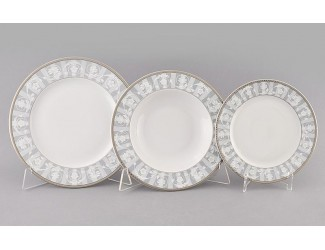Набор тарелок 18 предметов Leander Сабина Серый орнамент декор 1013