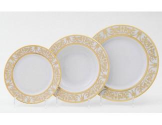 Набор тарелок 18 предметов Leander Сабина Золотой орнамент декор 1373