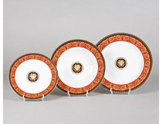 Набор тарелок 18 предметов Leander Сабина Красна лента (Версаче) декор B979