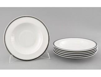 Набор тарелок глубоких 6шт 23см Leander Сабина Отводка платина декор 0011