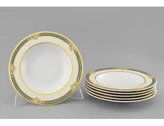 Набор тарелок глубоких 6шт 23см Leander Сабина, Фрукты на зелёной ленте декор 0711