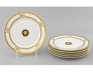 Набор тарелок десертных 6шт 19см Leander Сабина Золотая лента (Версаче) декор A126