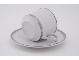 Набор кофейных на 6 персон 12 предметов 100мл Leander Сабина Отводка платина, декор 0011
