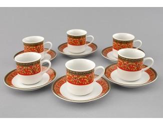 Набор кофейных пар на 6 персон 12 предметов 0,10л Leander Сабина Красна лента декор 0979 02160413-0979