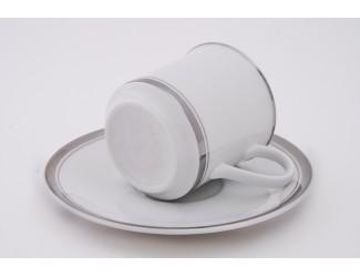 Набор кофейных пар на 6 персон 12 предметов Leander Сабина Отводка платина декор 0011