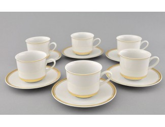 Набор кофейных пар на 6 персон 12 предметов 0,15л Leander Сабина Отводка золото декор 0511 02160414-0511