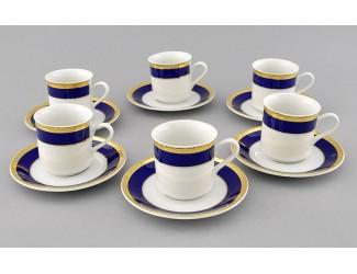 Набор кофейных пар на 6 персон 12 предметов 0,15л Leander Сабина Кобальтовая лента декор 0767