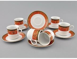 Набор кофейных пар на 6 персон 12 предметов 0,15л Leander Сабина Красна лента декор 0979 02160414-0979
