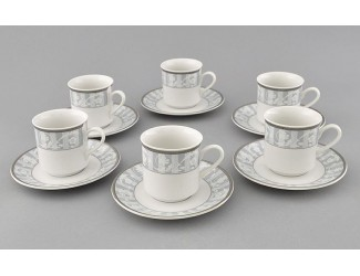 Набор кофейных пар 6шт 0,15л Leander Сабина Серый орнамент декор 1013