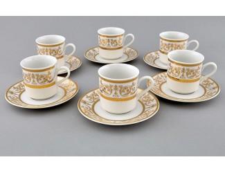 Набор кофейных пар на 6 персон 12 предметов 0,15л Leander Сабина Золотой орнамент декор 1373 02160414-1373