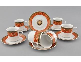 Набор кофейных пар на 6 персон 12 предметов 0,15л Leander Сабина Красна лента (Версаче) декор B979 02160414-B979