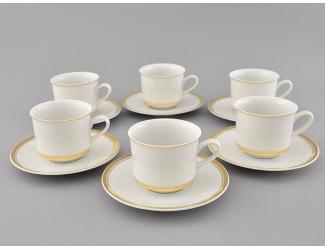 Набор чайных пар на 6 персон 12 предметов 0,20л Leander Сабина Отводка золото декор 0511