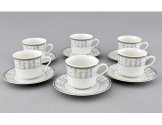 Набор чайных пар на 6 персон 12 предметов 0,20л Leander Сабина Серый орнамент декор 1013