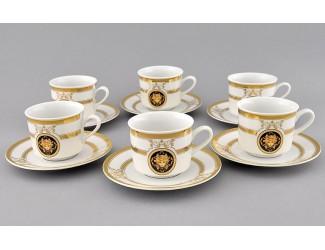 Набор чайных пар на 6 персон 12 предметов 0,20л Leander Сабина Золотая лента (Версаче) декор A126