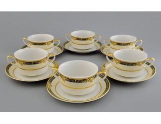 Набор чашек для супа с блюдцами 300мл Leander Сабина, Фрукты на зелёной ленте декор 0711