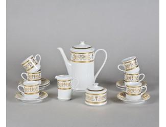 Сервиз кофейный мокко 15 предметов 6 персон Leander Сабина Золотой орнамент декор 1373