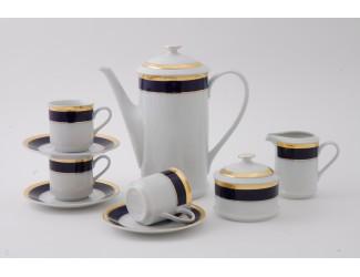 Сервиз кофейный 15 предметов 6 персон 0,15л Leander Сабина Кобальтовая лента декор 0767