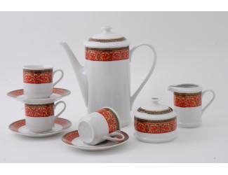 Сервиз кофейный 15 предметов 6 персон 0,15л Leander Сабина Красна лента декор 0979