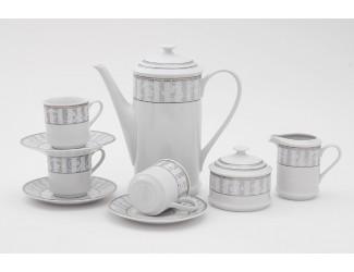 Сервиз кофейный 15 предметов 6 персон 0,15л Leander Сабина Серый орнамент декор 1013