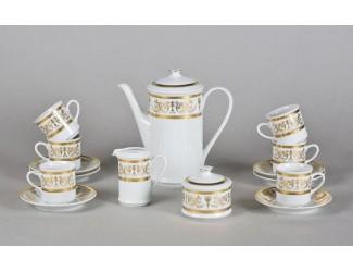 Сервиз кофейный 15 предметов 6 персон 0,15л Leander Сабина Золотой орнамент декор 1373