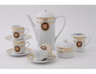Сервиз кофейный 15 предметов 6 персон 0,15л Leander Сабина Золотая лента (Версаче) декор A126