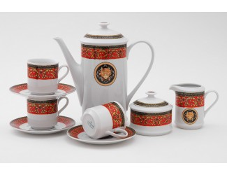 Сервиз кофейный 15 предметов 6 персон 0,15л Leander Сабина Красна лента (Версаче) декор B979