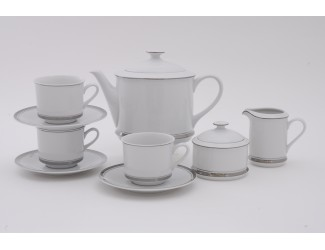 Сервиз чайный 15 предметов 6 персон Leander Сабина Отводка платина