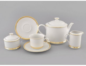 Сервиз чайный 27 предметов 12 персон Leander Сабина Отводка золото декор 0511